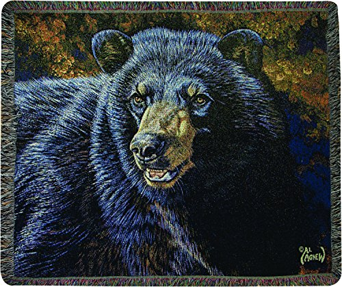 Manual Woodworkers & Weavers Tapestry Throw, Black Bear, 50 x 60 (Tapestry Transitional Black)