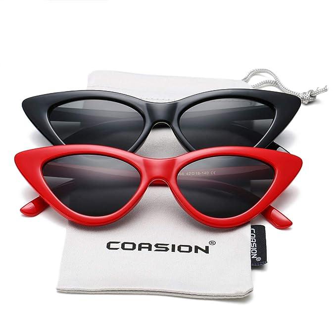 Amazon.com: Juego de gafas de sol para mujer, diseño de gato ...