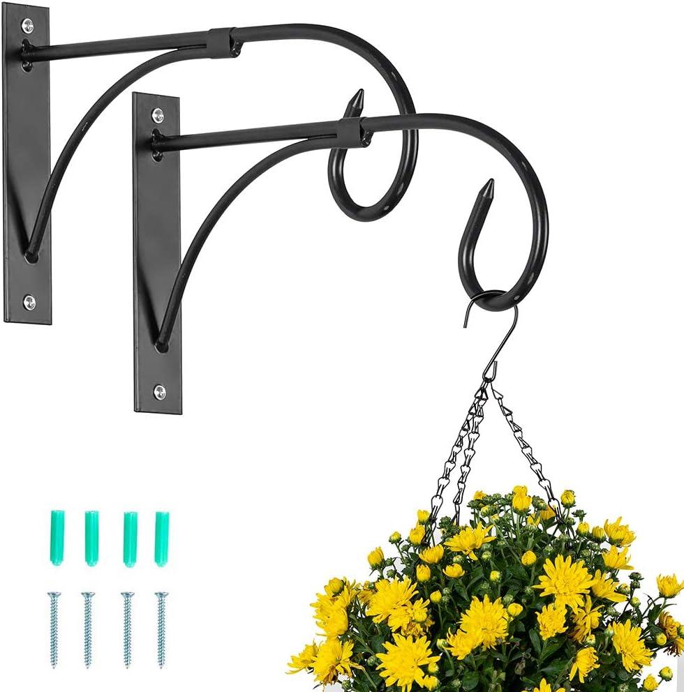 Nuptio 2 Pcs Black Hanging Basket Bracket Outdoor Plant Hooks, Fence Hooks for Hanging Baskets, Metal Garden Hanging Hooks Wall Plant Hanger Brackets for Hanging Plants Lanterns Bird Feeders