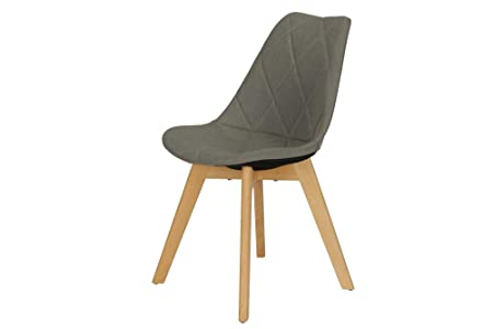 Novogratz Brisbane Dining Chair with Diamon Tufted Pattern in Premium Linen Upholstery, Grey Linen