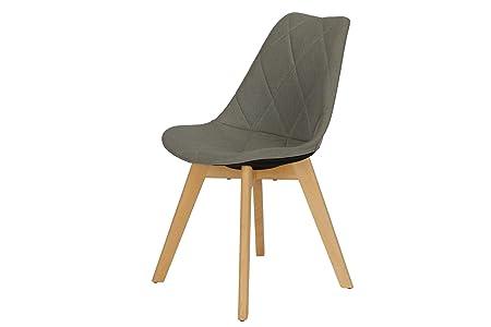 Novogratz Brisbane Dining Chair with Diamon Tufted Pattern in Premium Linen Upholstery, Grey Linen