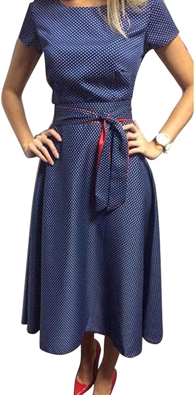 Yying Damen Knielang Kleider Elegant Rockabilly Kleid Rundhals A