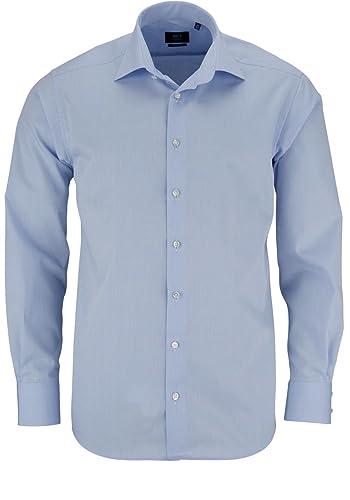 ETERNA Herren Modern Fit Uni Popeline Langarmhemd hellblau
