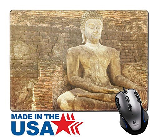"""MSD Natural Rubber Mouse Pad/Mat with Stitched Edges 9.8"""" x 7.9"""" Close up Buddha statue in old city Sukhotai ancient capital Thailand in vintage IMAGE (Monument Park Brick)"""