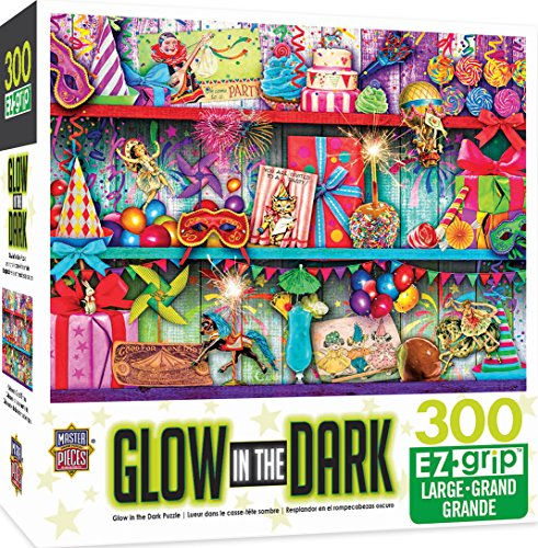 MasterPieces Glow in The Dark Celebrate Good Times Party Favors Large EZ Grip Jigsaw Puzzle by Aimee Stewart, 300-Piece by MasterPieces