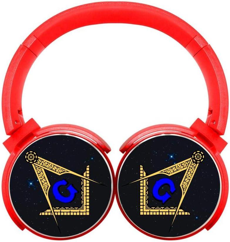 DNpni Masonic Symbol Wireless Headset Stereo Subwoofer On-Ear Bluetooth Headphone HiFi with Mic Red