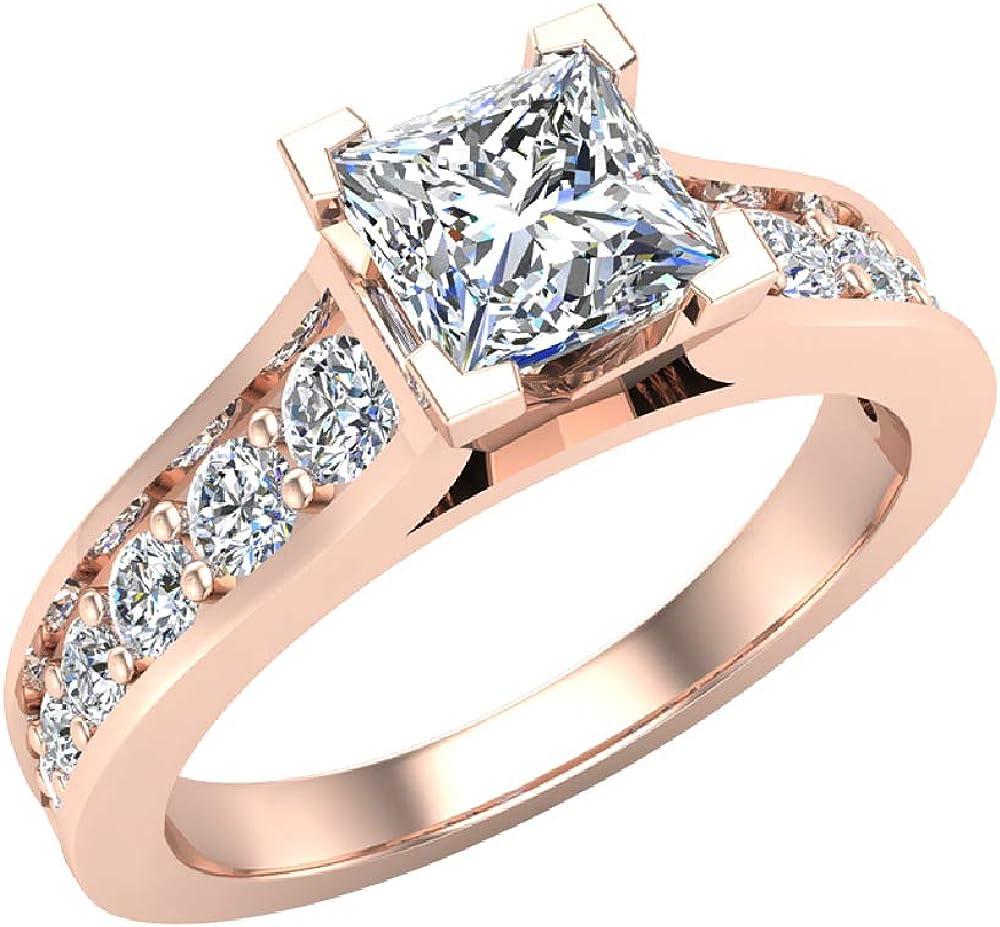 Princess Cut Diamond Engagement Ring Riviera Shank 1 07 Carat Tw 14k Gold G S I Amazon Com