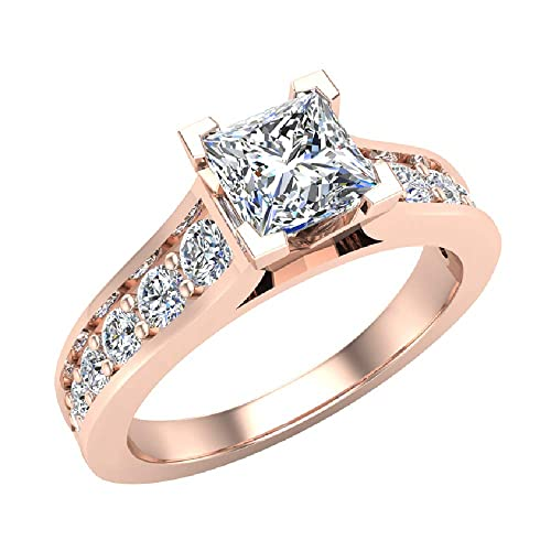 Amazon.com: Anillo de compromiso de diamante de corte ...