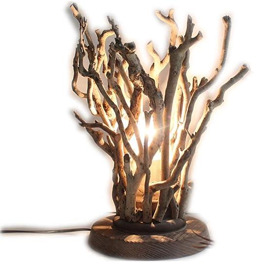 Rama Lámpara de mesa de madera-Lámpara de escritorio vintage ...
