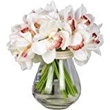 12 PCS High Quaulity Latex Real Touch Cymbidium Orchid Artificial Flower Bouquet for Wedding Holiday Bridal Bouquet Home…