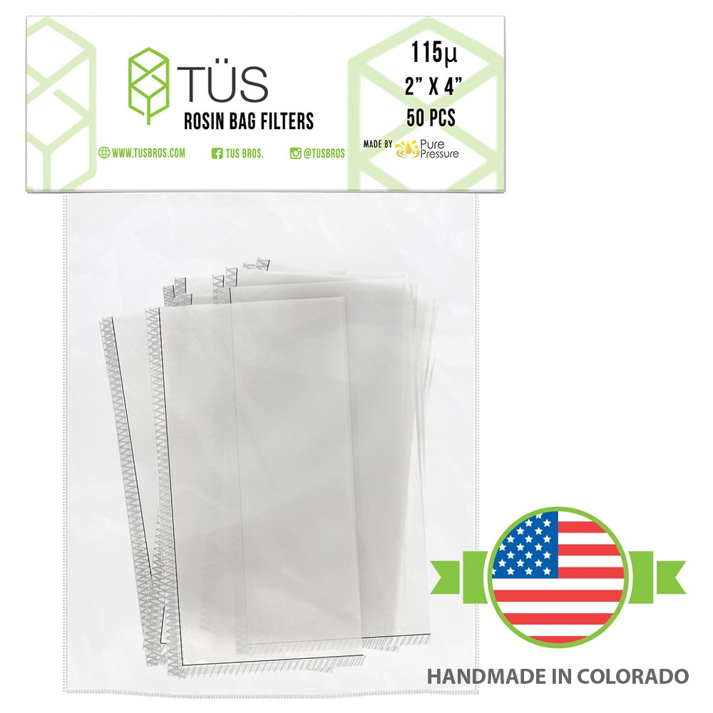 115 Micron Rosin Press Squish Bags • 2'' x 4'' • 50 Pack • 115u Microns Filter Screen Made from Polyester ft. Proprietary Stitching- Heavy Duty Rosin Tech Bag Highly Rated for Zero Chances of Blowout by TÜS