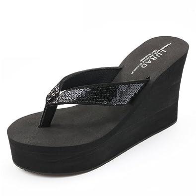 54a4af2b8631 Summerwhisper Women s Glitter Sequined Platform Thing Sandals Antiskid  Wedge Heel Sandy Flip Flops Black 4 B