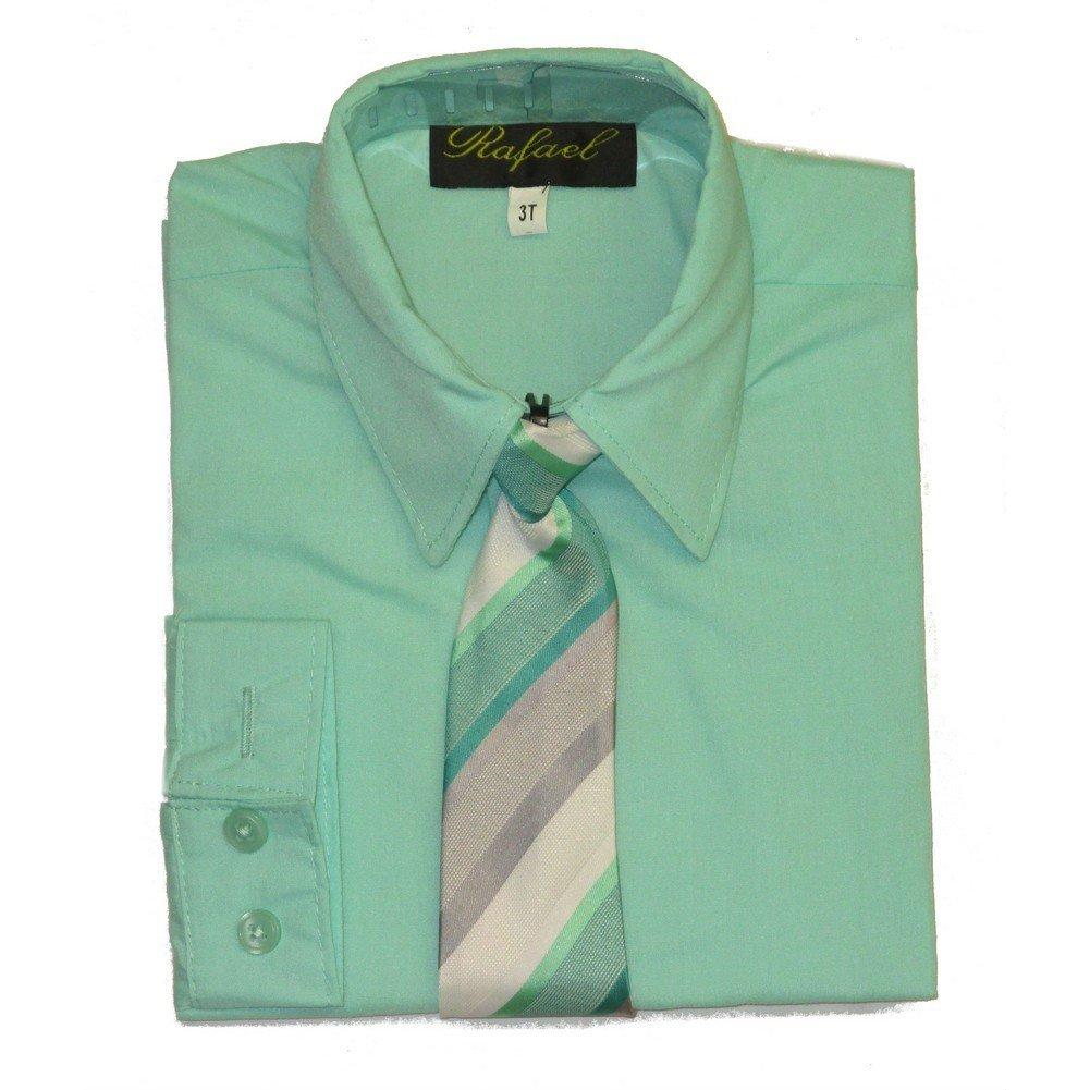 Amazon Rafael Big Boys Mint Gray Striped Necktie Dress Shirt