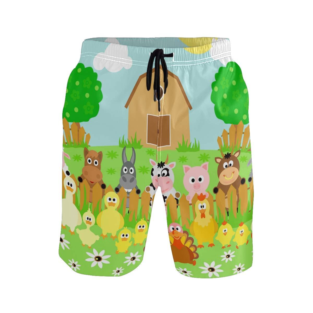 Mens Beach Swim Trunks Carton Farm Animals Fence Boxer Swimsuit Underwear Board Shorts with Pocket