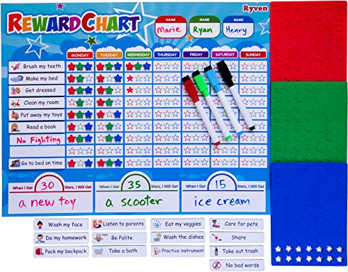 Multiple Rule - Ryven Kids Reward Chart Set - Magnetic Responsibility and Good Behavior Chore Board with 210 Magnetic Stars & 4 Dry Erase Markers for Multiple Children Learning of Rules, Daily Routine, Education