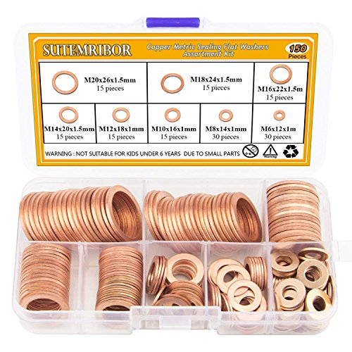 Sutemribor 150PCS 8 Sizes Copper Metric Sealing Washers Flat Washers Assortment Kit by Sutemribor
