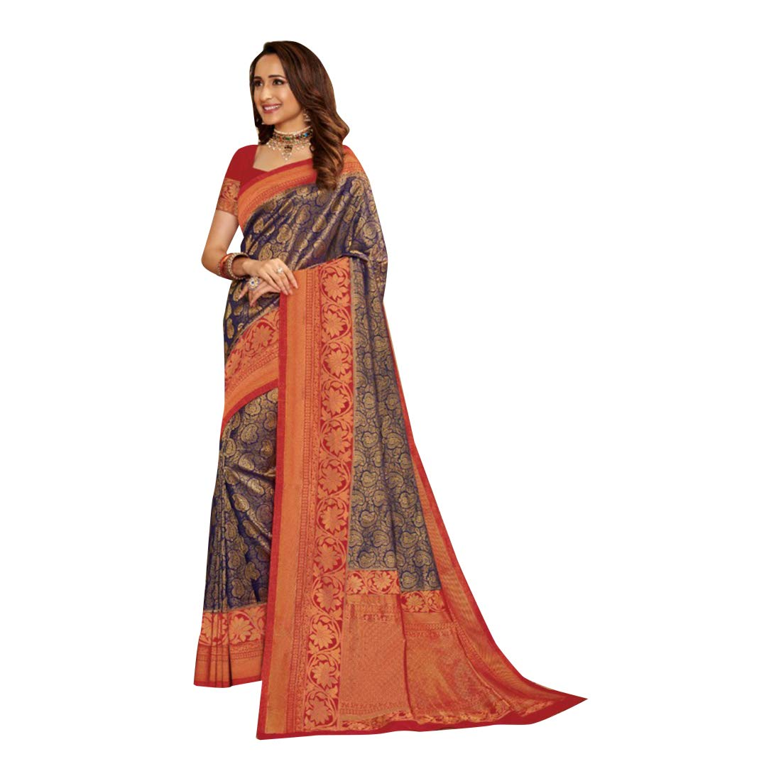 Navybluee Indian Traditional Festive Party wear Silk Sari for Women Saree with Blouse piece Designer collection 7918