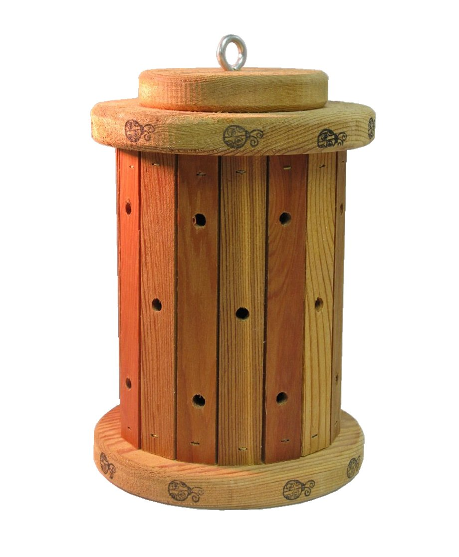 Nature Gift Store Ladybug House: Round Shaped, Hand-Made in Wisconsin, Lady Bugs Adorn Top and Bottom
