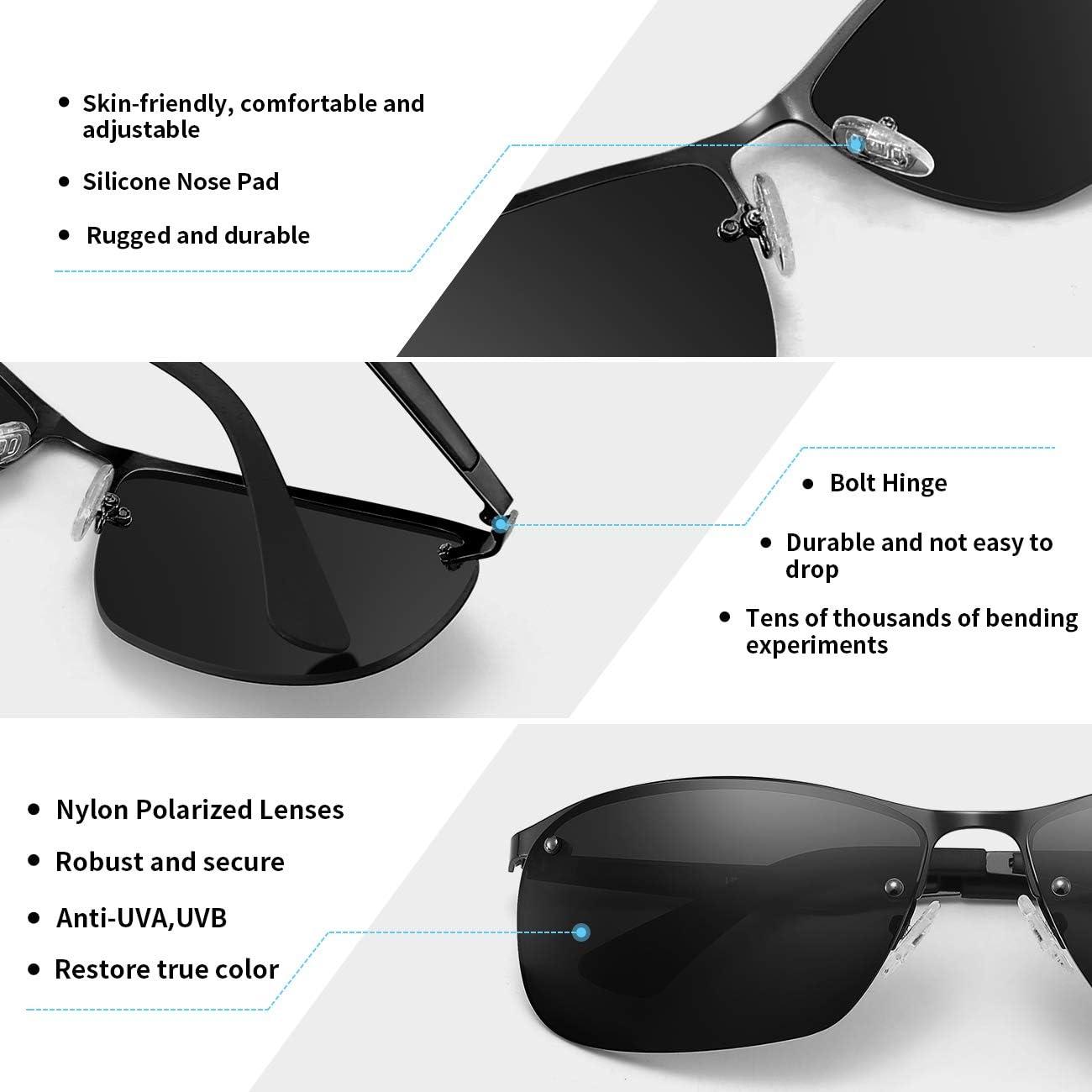 MS Polarized Sunglasses for Men Driving glasses Rectangular half frame Vintage Sun Glasses For Men/Women (black)