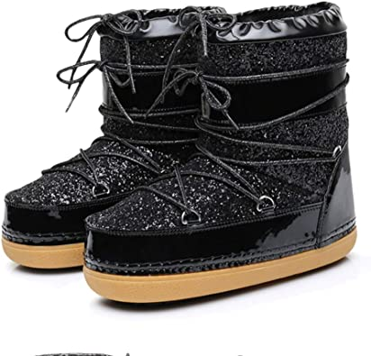 JOYBI Women Winter Round Toe Ankle Boots Warm Fur Lined Comfortable Non Slip Buckle Fashion Snow Boots