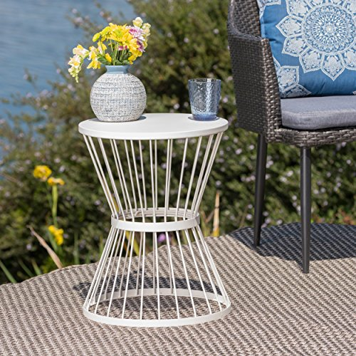 Cheap  Great Deal Furniture Fern Outdoor 16 Inch Matte White Iron Side Table