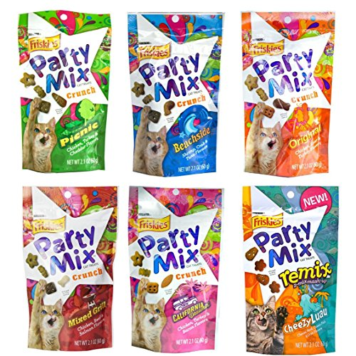 - Friskies Party Mix Crunch Variety Pack (6 Fun Flavors) - Picnic, Beachside, Mixed Grill, Original, California Dreamin', and Cheezy Luau