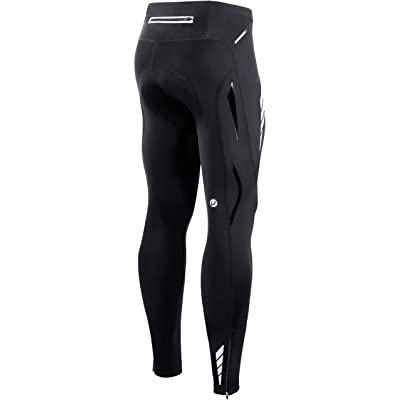 Mens Cycling Pants Padded Stretchy Cycle Tights Ankle Zip MTB Road Bike Trousers