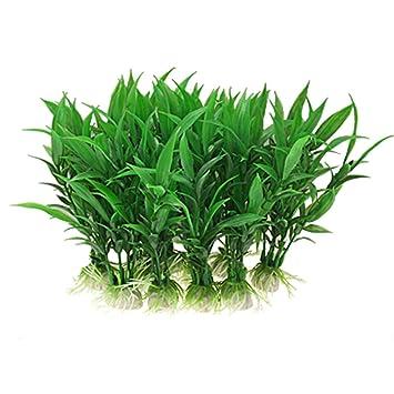jardin plastic aquarium tank plants grass decoration 10 piece green
