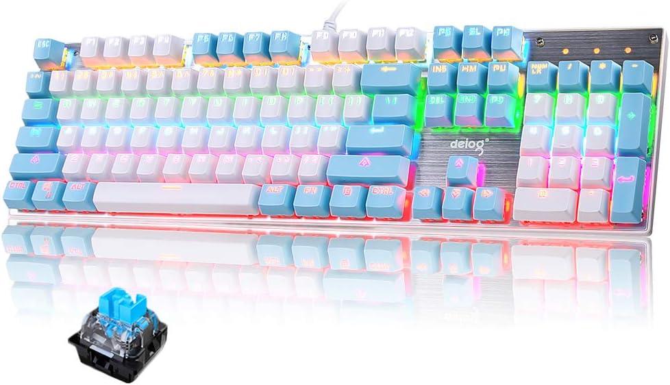 Teclado mecánico Gaming RGB Switch Blue 104 Teclas Disposición Ergonómica 9 Modos de iluminación RGB para PC/Mac con Windows - Azul
