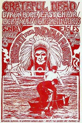 Grateful Dead - Benefit for Indian Rights - 1968 - Concert Poster