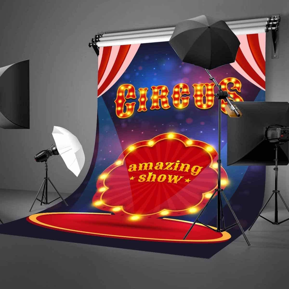 GoEoo 5X7ft Circus Poster Backdrop Amazing Show Stage Spotlight Flash Photography Background LYGE611