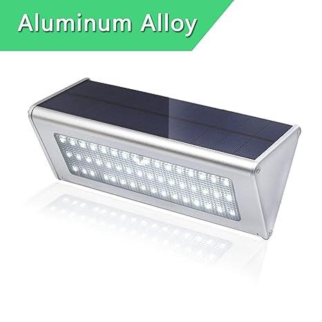 Luz Solar Exterior 48 LED Foco Solar con Sensor de Movimiento Lampara Solar Blanco Aluminio Carcasa Impermeable para Exteriores Jardín Patio