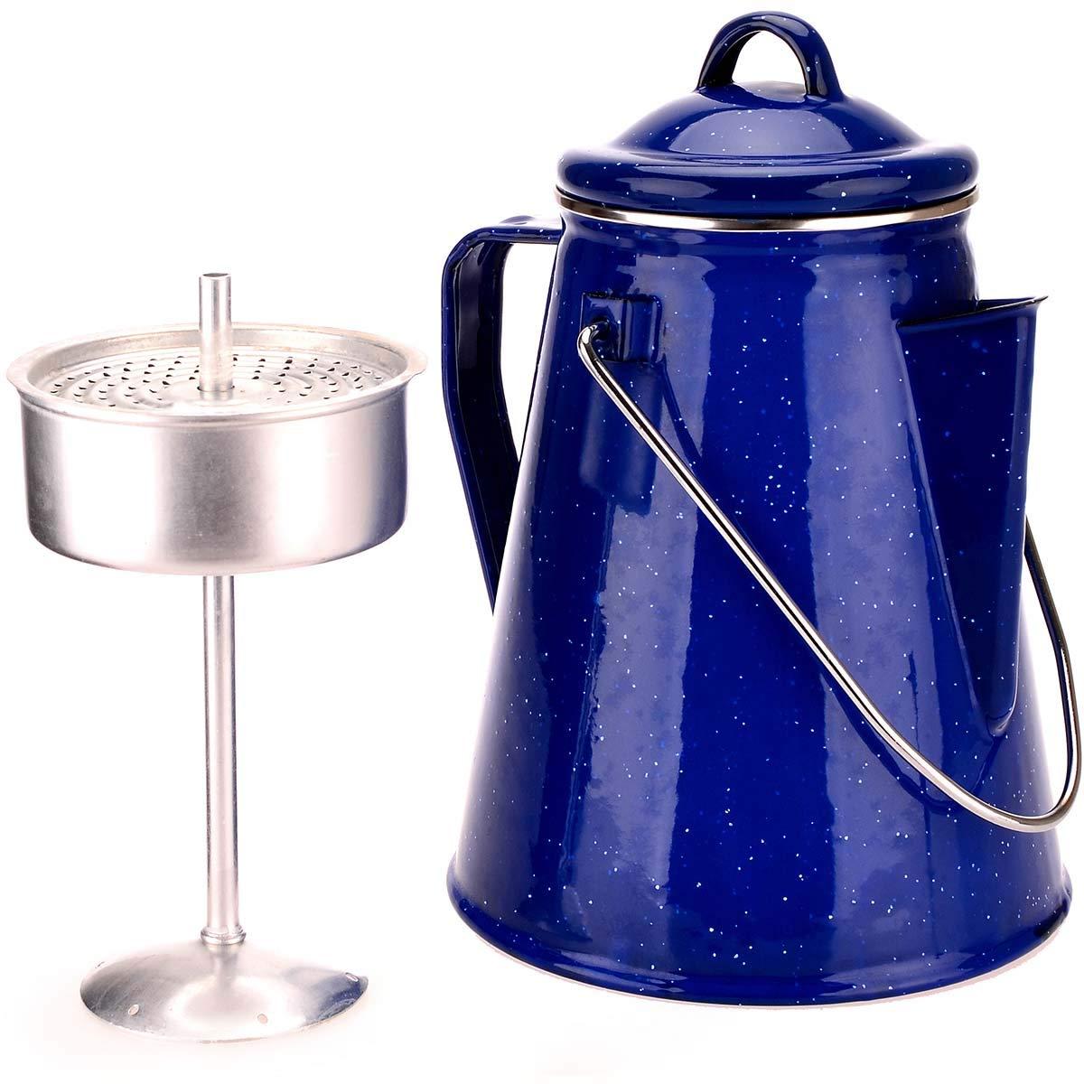 Cafetera esmaltada con filtro para 8 tazas. 2 Litros. 600gr con percolador. Hecha de acero de 0.4mm perfecta para irte de camping o caravanning, barbacoas y picnics. Se puede usar tambien como tetera o hervidor de agua. OZtrail OZT_10182