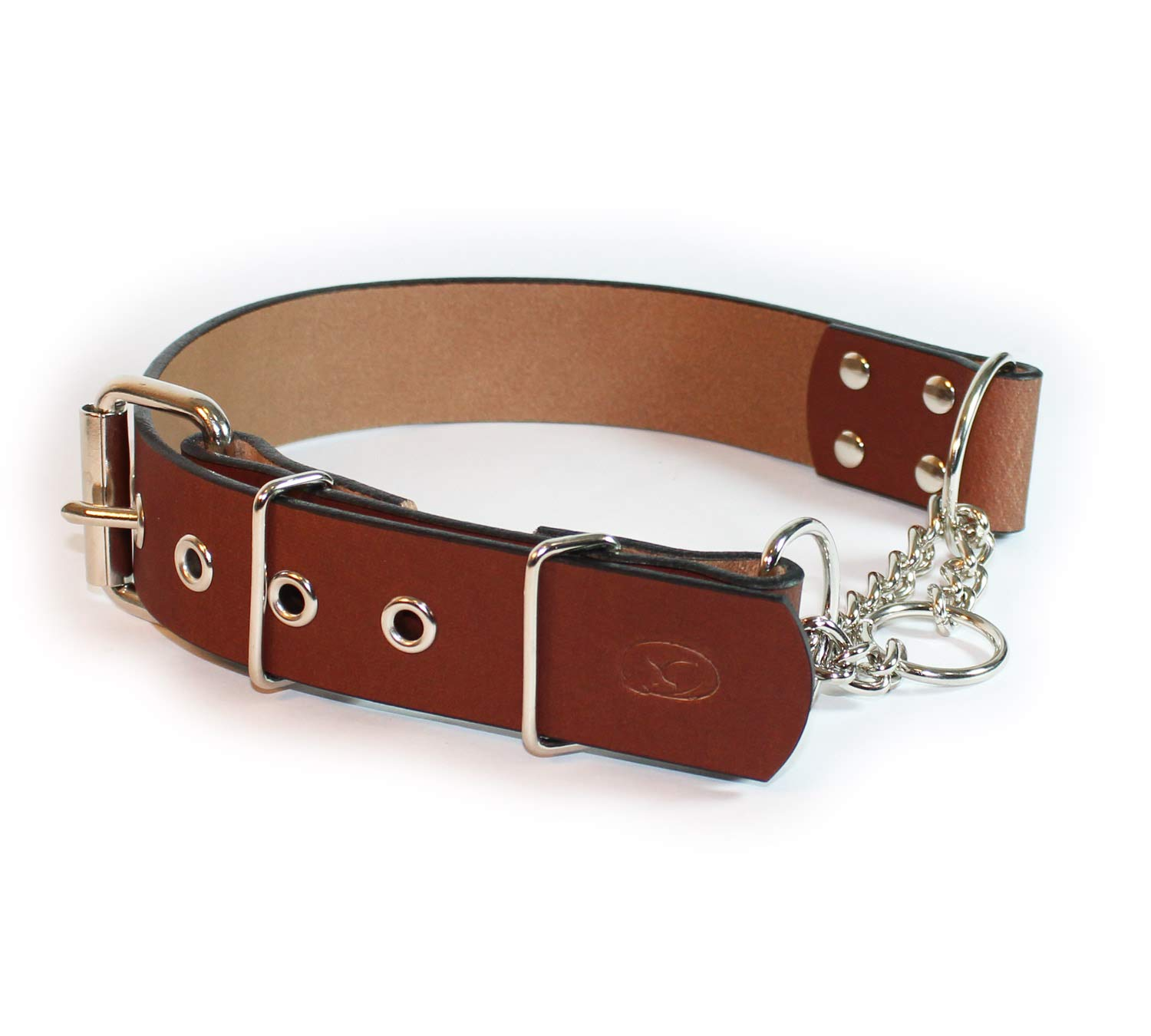 sleepy pup Big Dog Adjustable 1.5'' Leather Martingale Chain Dog Collar - Made in The USA (X-Large: 22''-26'', Light Brown)