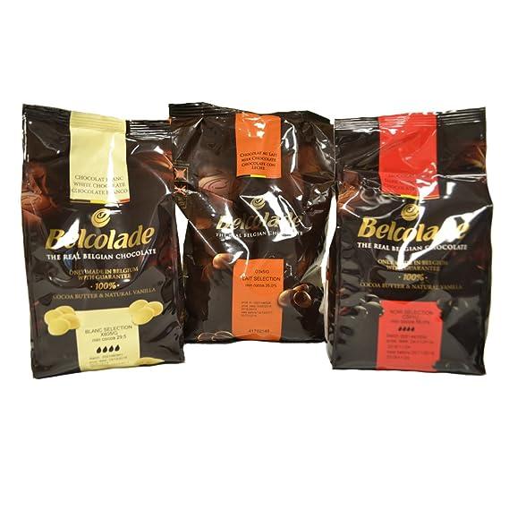 Belcolade pepitas de Chocolate con Leche, Negro y Blanco - Lote de 3 x 1kg