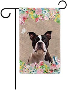 BAGEYOU Hello Spring Flowers with My Love Dog Boston Terrier Decorative Outdoor Garden Flag Cute Puppy Summer Floral Seasonal Banner 12.5X18 Inch Print Double Sided