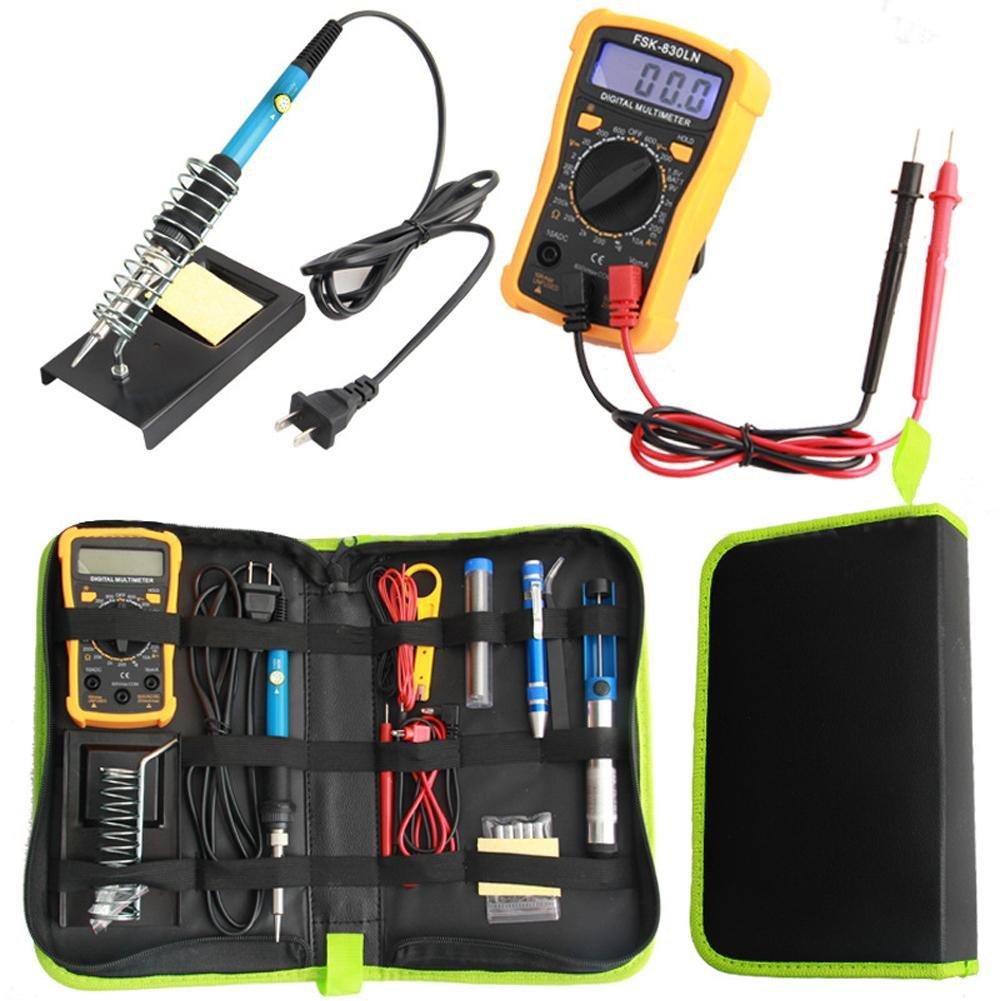Shantan soldering iron kit welding work digital multimeter screwdiver holder 60w adjustable temperature station tool yellow with electric set display combination