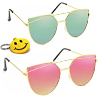 Elligator Poly-Carbonate Multicolour UV Protected Men's and Women's Sunglasses- Set of 2