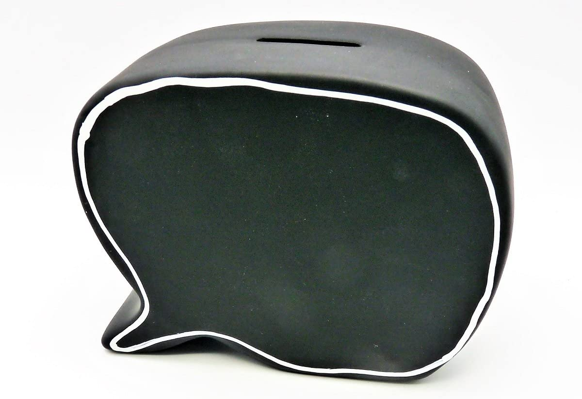 Geschenkestadl Spardose Sprechblase in Schwarz zum Beschriften 16 x 12 cm Sparb/üchse