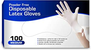 Disposable General Purpose Latex Gloves - Powder Free Medium (1 Pack) (Medium)