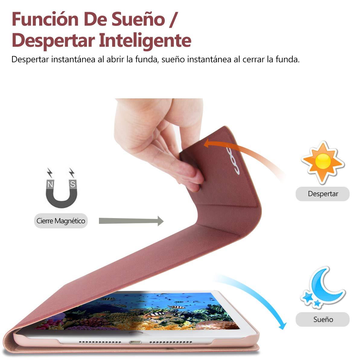 Cubierta Ultraliviano con Teclado Bluetooth Desmontable para Nuevo iPad 9,7 2017 iPad Air 2//1 COO Funda Teclado Espa/ñol para iPad iPad Pro 9,7 con Smart Auto Sleep-Wake Azul oscuro iPad 2018