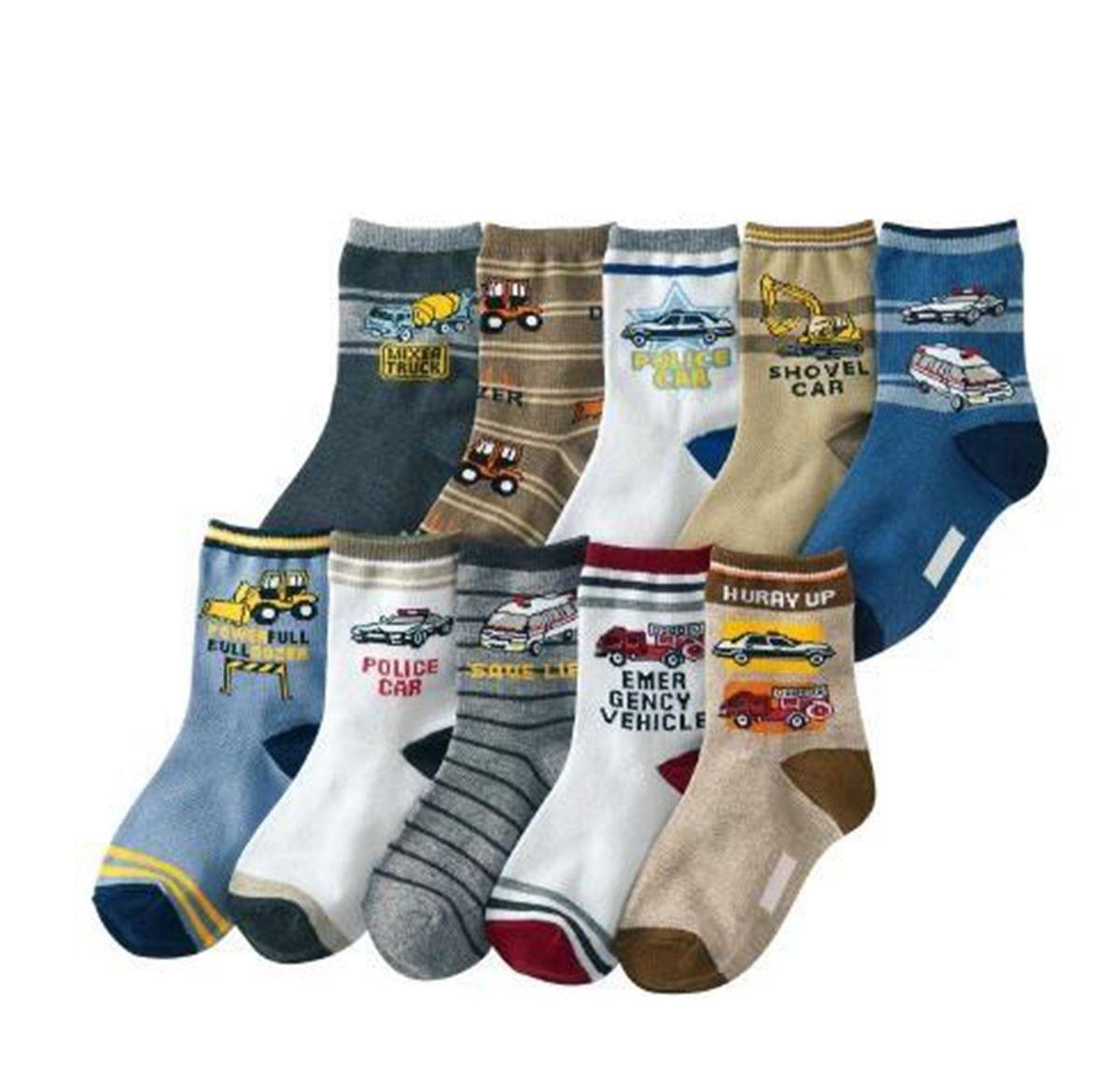 Boys Short Socks Fashion Cartoon Tanker Cotton Basic Crew Kids Socks 10 Pair Pack