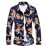 QZUnique Men's Cotton Shirts Long Sleeve Floral Shirts Casual Button Down Shirts Plus Sizes Yellow Flower 3XL