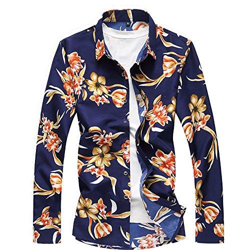 QZUnique Men's Cotton Shirts Long Sleeve Floral Shirts Casual Button Down Shirts Plus Sizes Yellow Flower 3XL by QZUnique