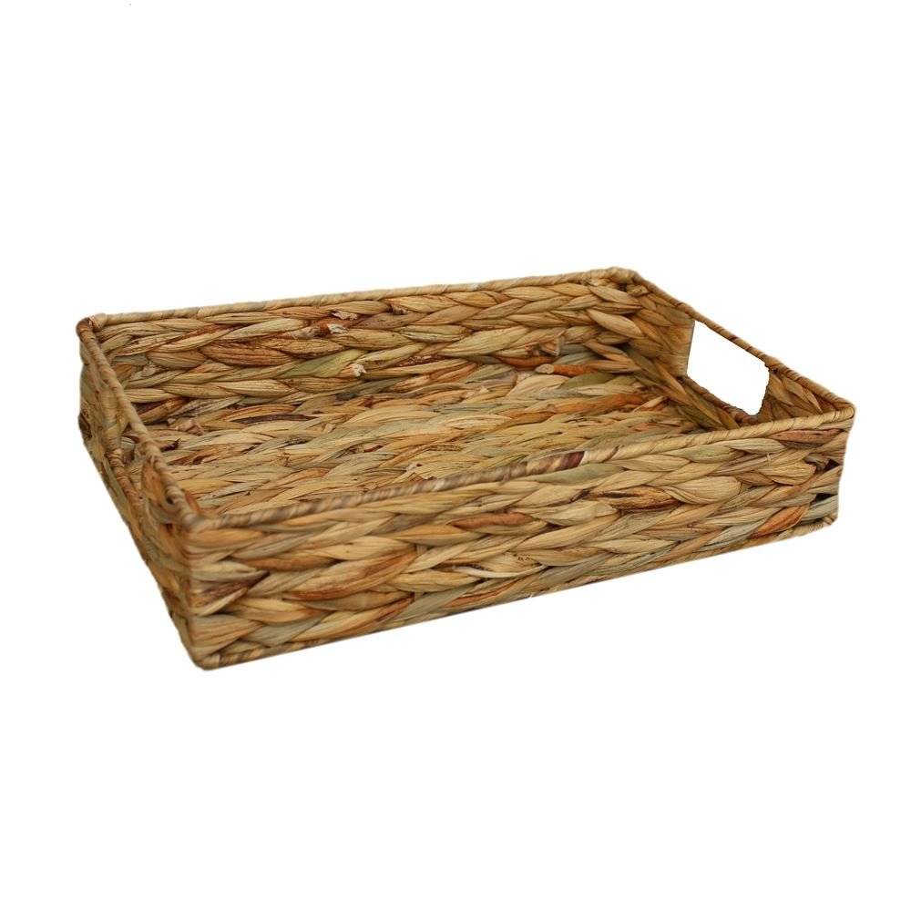 Large Water Hyacinth Shallow Rectangular Storage Basket