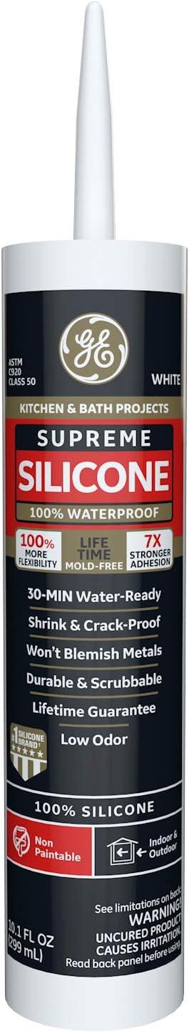 GE Sealants & Adhesives M90007 Supreme Silicone Kitchen & Bath Sealant, 10.1oz, White