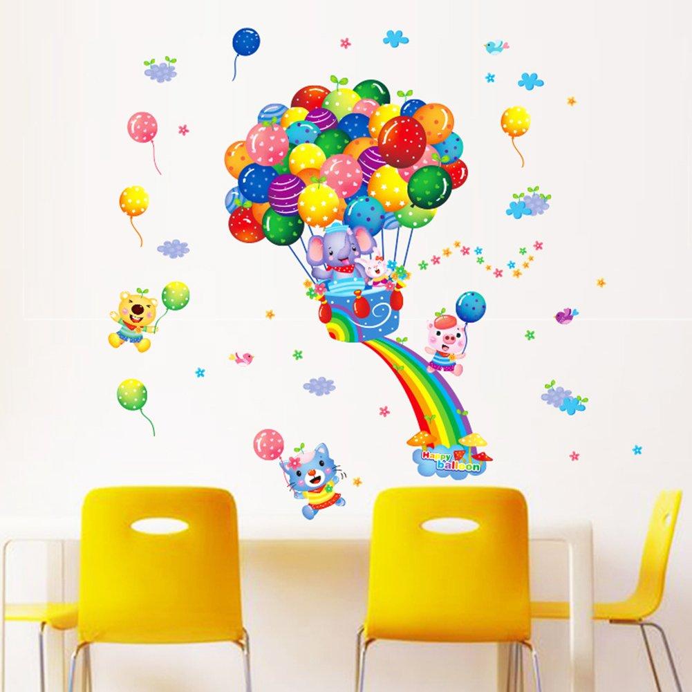 amazon com cartoon wall decals rainbow animal stickers hot air