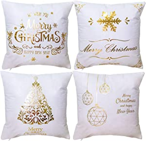 Doliving Christmas Pillow Covers 18 x 18 Set of 4 Gold Soft Velvet Farmhouse Christmas Decor Throw Pillow Covers Winter Holiday Rustic Decoration Pillow Cases