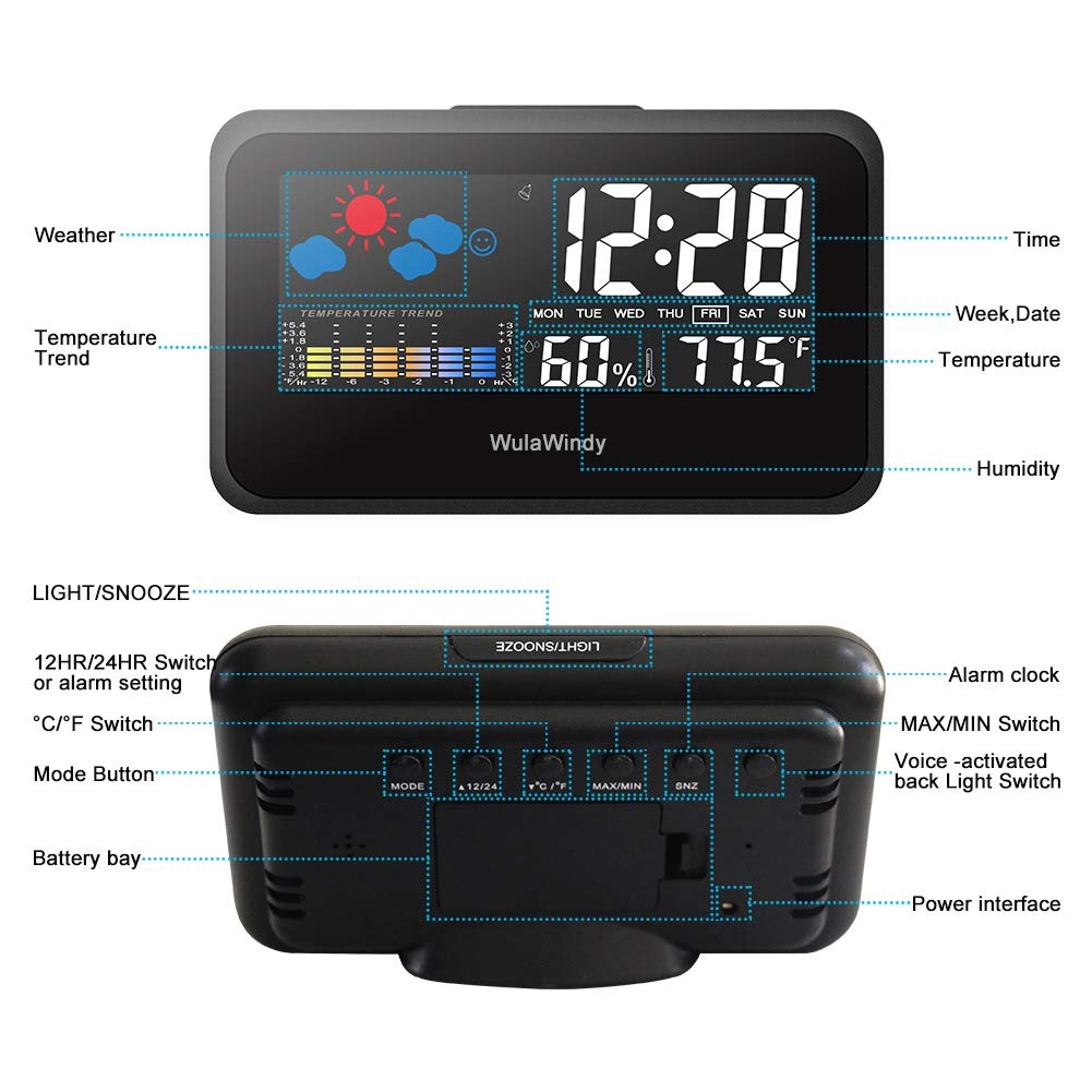 Digital Alarm Clock Thermometer Large Display with LED Light Temperature Humidity for Home Travel Battery USB Operated by WulaWindy (Image #9)
