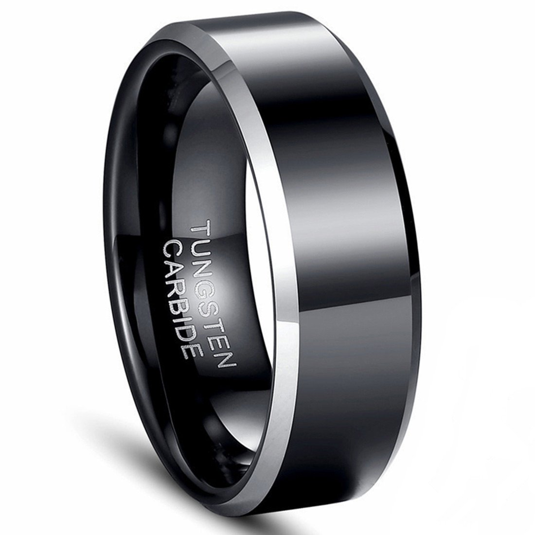 Tungsten Carbide Rings Men's 8mm Wedding Band Black and Silver Polished Wedding Engagement Ring -Kiss me (12)
